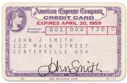Papírová karta American Express z roku 1958
