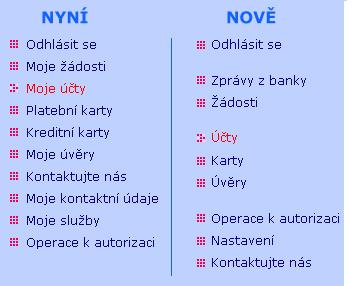 Hlavní (levé) menu